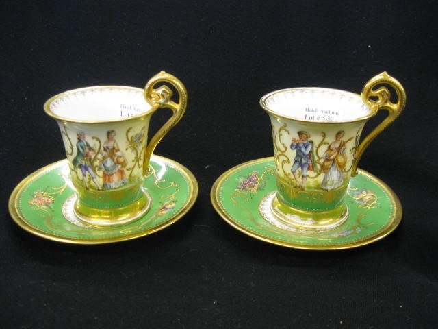 520: Pair of Dresden Porcelain Cups & Saucers, handpain