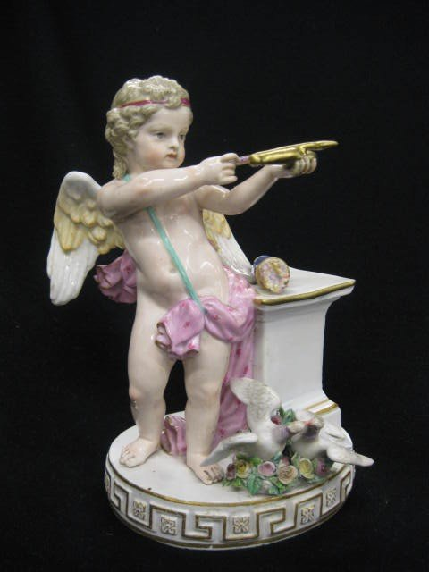 575: Meissen Porcelain Figurine of Cupid with bow & arr