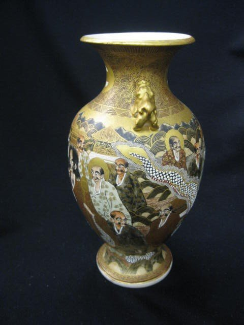 640: Japanese Pottery Vase, signed, 100 faces and drago - 2