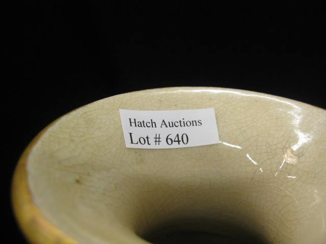 640: Japanese Pottery Vase, signed, 100 faces and drago - 5