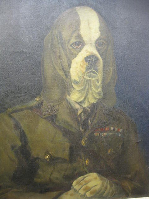 752: Clare Atwood, Oil, Beagle in military uniform,
