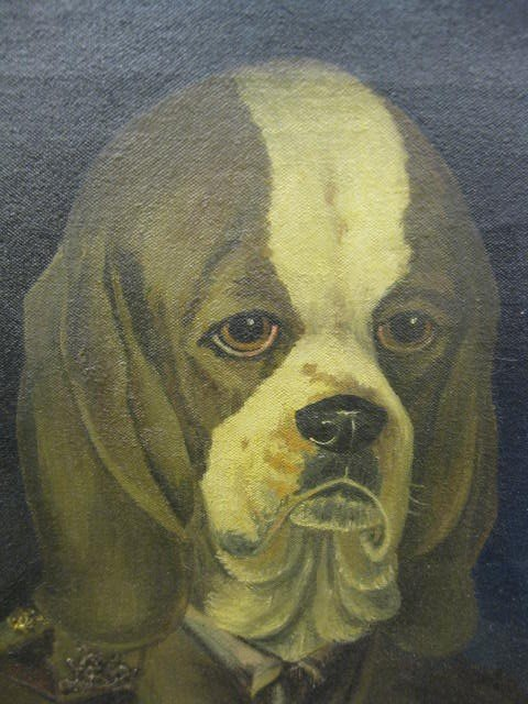 752: Clare Atwood, Oil, Beagle in military uniform, - 2