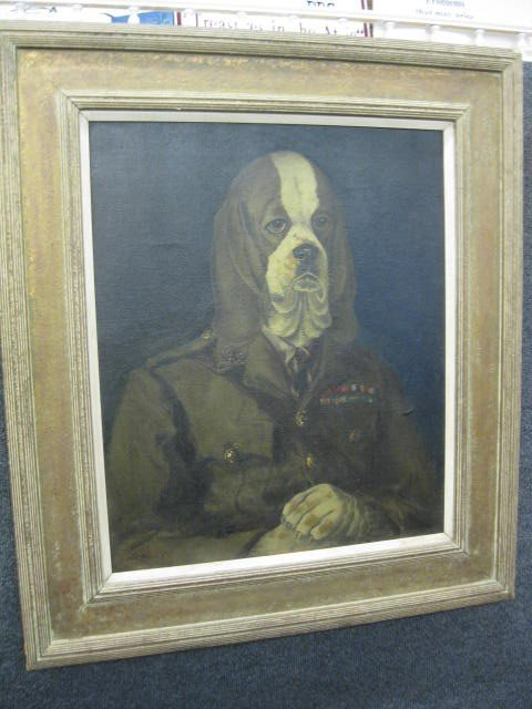 752: Clare Atwood, Oil, Beagle in military uniform, - 3