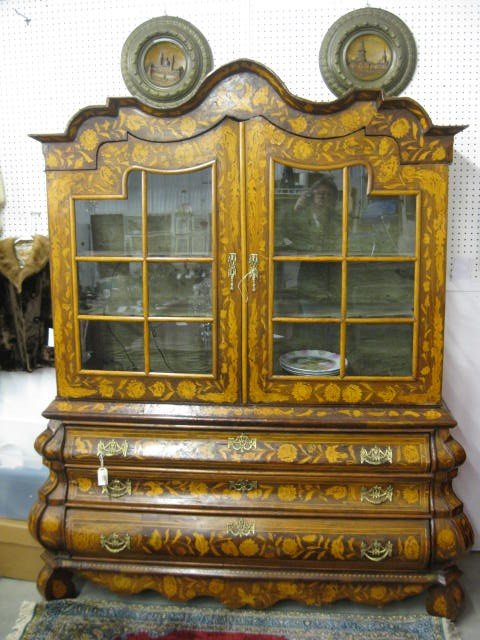 824: Dutch Marquetry Bombay Cabinet, double doors over