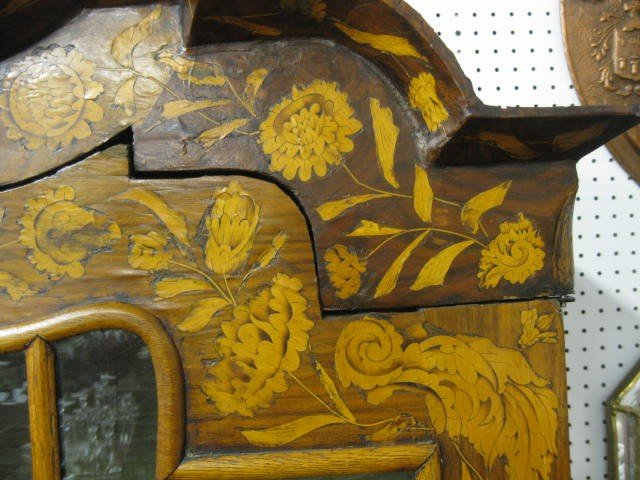 824: Dutch Marquetry Bombay Cabinet, double doors over  - 2
