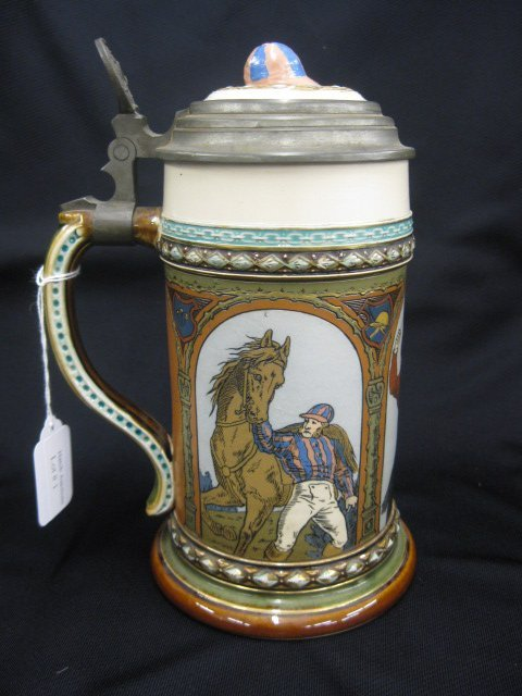 1: Mettlach Pottery Jockey Beer Stein, #1733,
