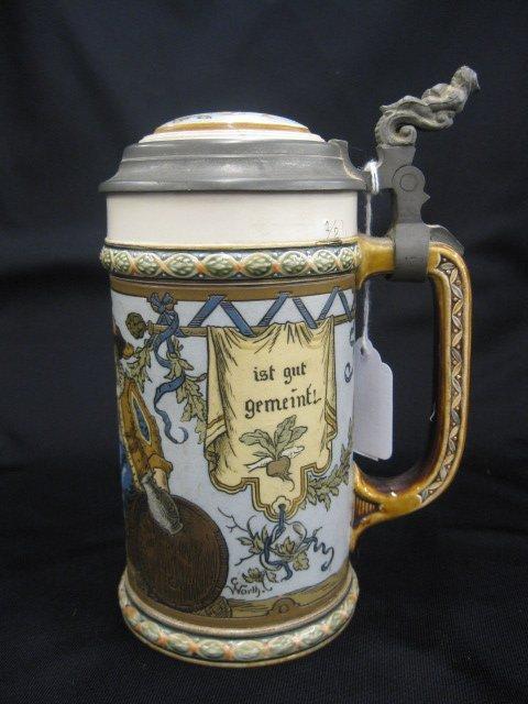 2: Mettlach Pottery Beer Stein, #1932, Cavaliers
