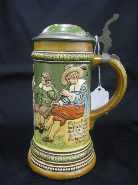 3: H.R. German Pottery Stein, rooster inlaid lid,