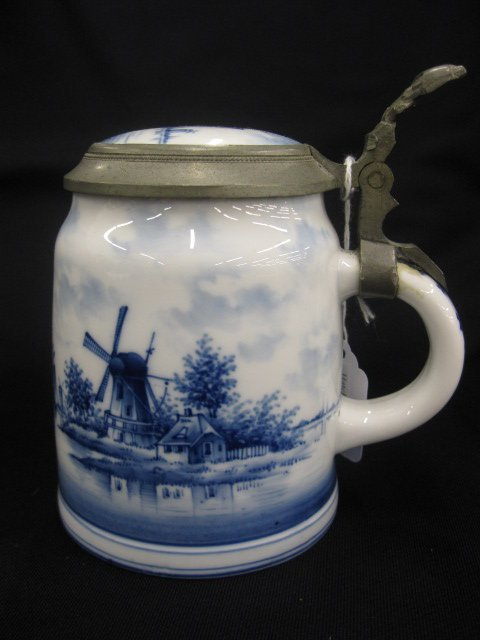 5: German Delft Lithopane Stein, harbor, ships