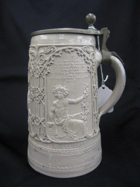 "7B: German Salt Glaze Pottery Stein, ""Gambrin"","