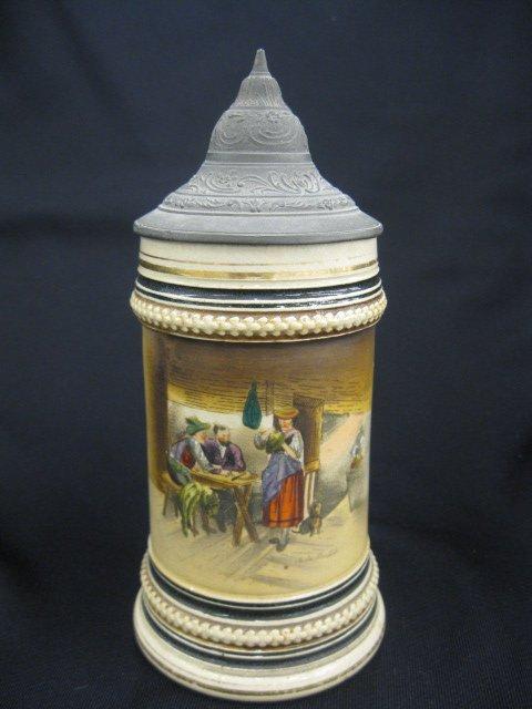 8C: German Handpainted Pottery Stein,