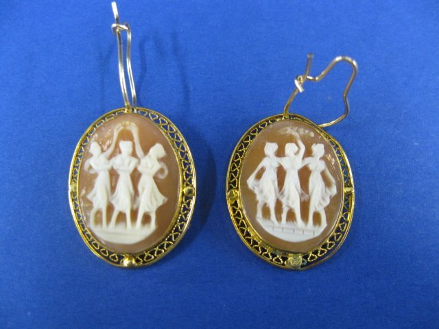 "10B: Cameo Earrings, ""Three Graces"","