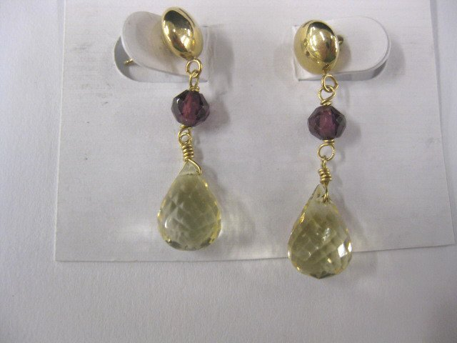 11A: 14k Gold, Ruby & Citrine Earrings,