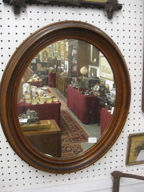 13: Victorian Walnut Framed Oval Mirror