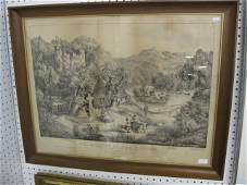 """73: Currier & Ives Lithograph """"The Meeting of"""