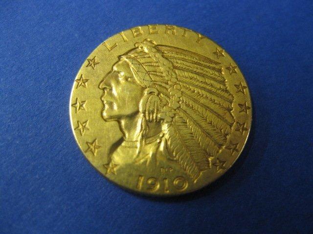 251B: 1910 U.S. $5.00 Indian Head Gold Coin,