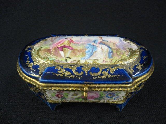 500: Sevres Porcelain Dresser Box, handpainted scene