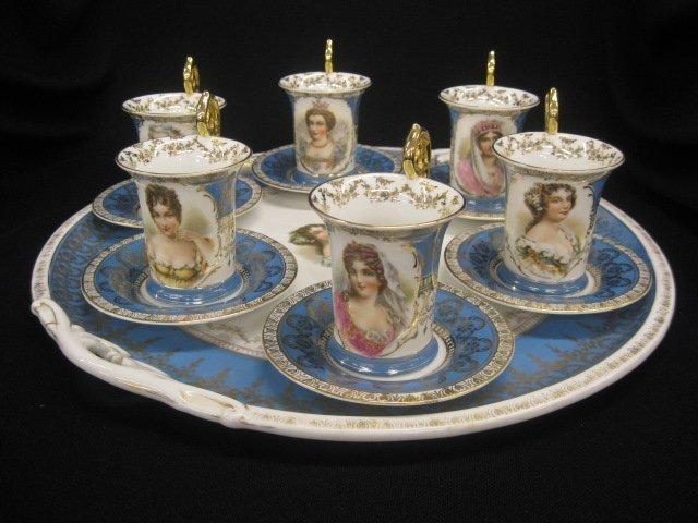 501: Victorian Porcelain Portrait Tea Tray with 6 cups