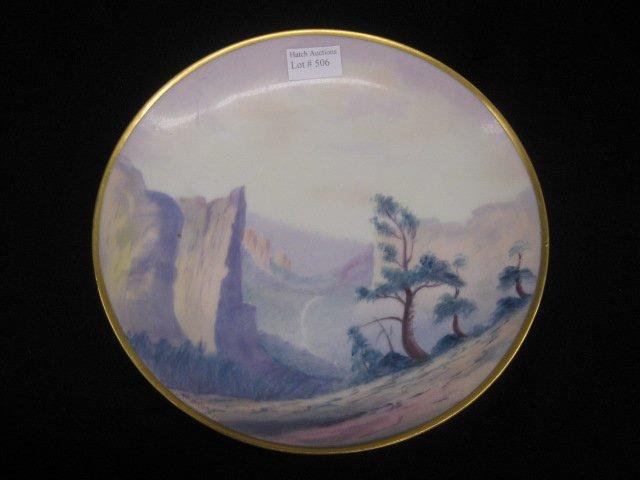 506: Pickard Handpainted China Plate, vellum, western