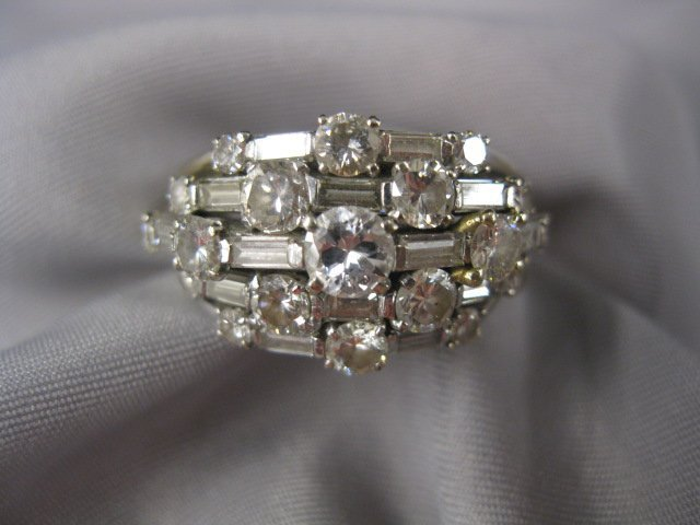 510: Diamond Ring, 19 round and 14 baguette