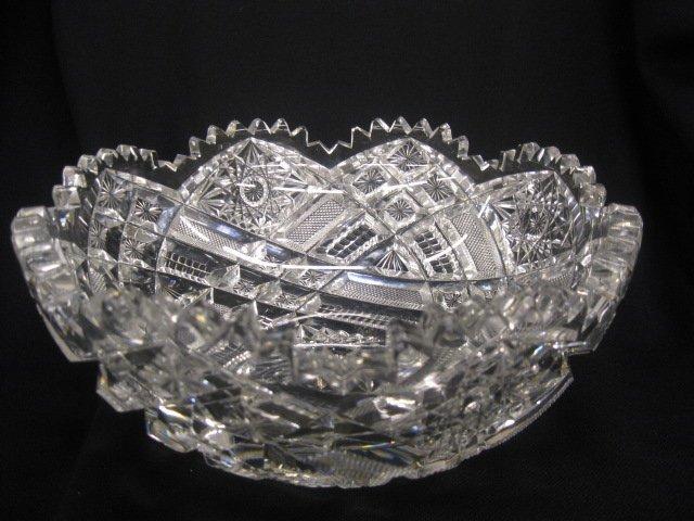 516: Cut Glass Bowl, heavily cut hobstars