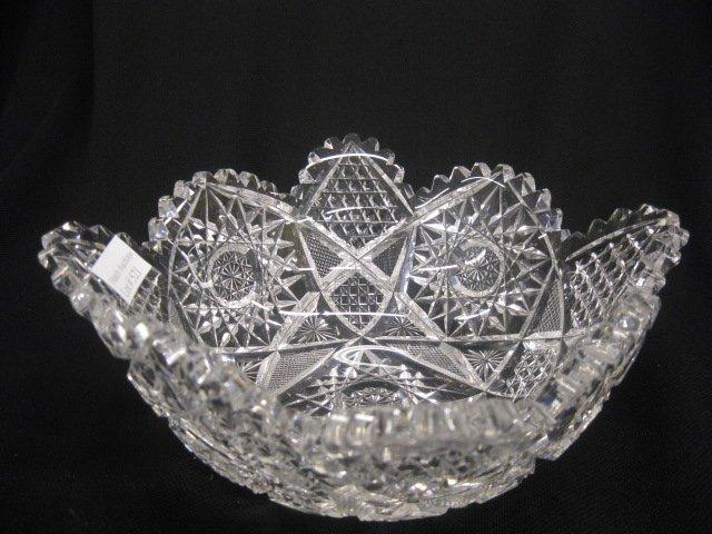 521: Cut Glass Bowl, squared, brilliant period,
