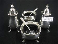 580B 6 pc Tiffany Sterling Silver Salt  Pepper Set