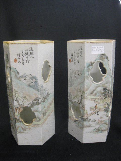 605: Chinese Porcelain Wig Stands, calligraphy