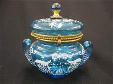 889A Victorian Enameled Art Glass Dresser Box
