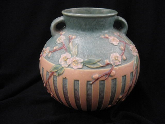 18: Roseville Cherry Blossom Art Pottery Vase,