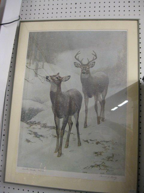 "412: Edward J. Bierly, Lithograph, ""Winter Woods"","