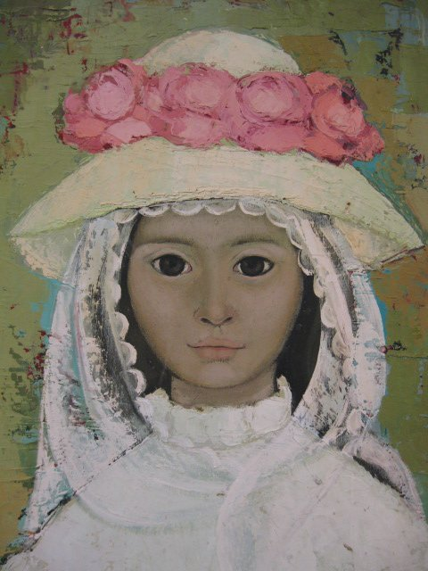 513: Oil of a Young Girl with Bonnet,