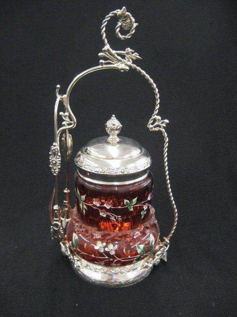 641: Victorian Pickle Castor, enameled cranberry