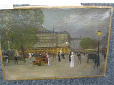 733 Fine Oil Painting of a City Street Scene at