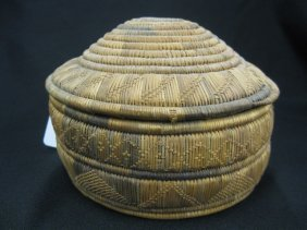 Antique Indian Covered Basket,