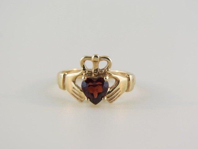 10: Garnet Irish Claddah Ring,