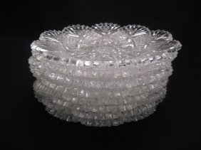"""8 Hawkes """"Devonshire"""" Cut Glass Dishes,"""