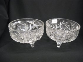 523: Pair of Cut Glass Footed Bowls,