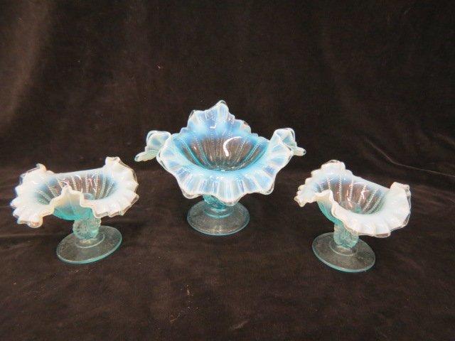 3 pc. Blue Opalescent Glass Console Set,