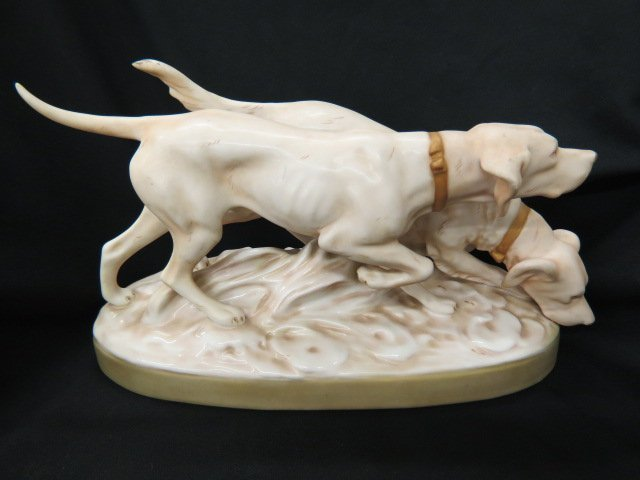 Royal Dux Porcelain Figurine of Two Hunting Dogs,