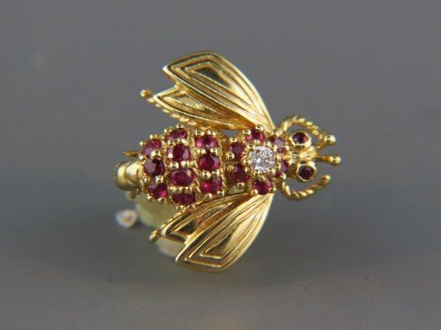 Tiffany 18k Gold & Ruby Bumblebee Brooch,