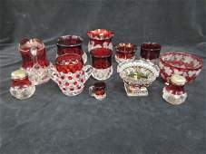 12 pcs. Ruby Flashed Glassware,