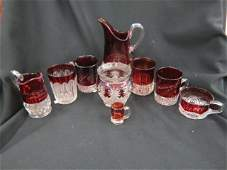 9 pcs. Ruby Flashed Glassware,