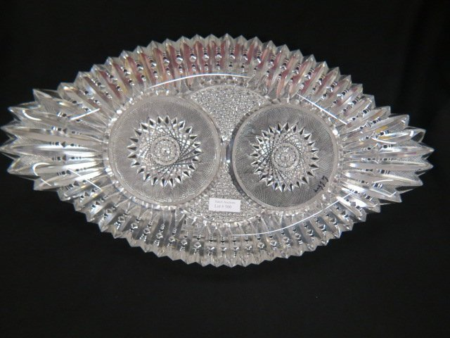 Cut Glass Oval Tray or Ice Cream Tray,