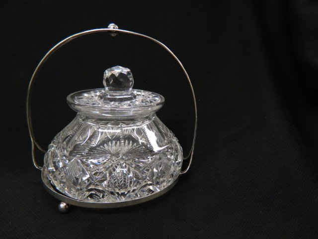 Hawkes Cut Glass Jar in Sterling Silver,