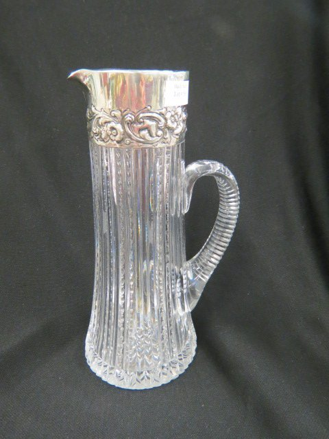 Cut Glass & Sterling Silver Tall Pitcher,