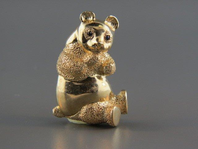 14k Gold Figural Panda Bear Brooch,