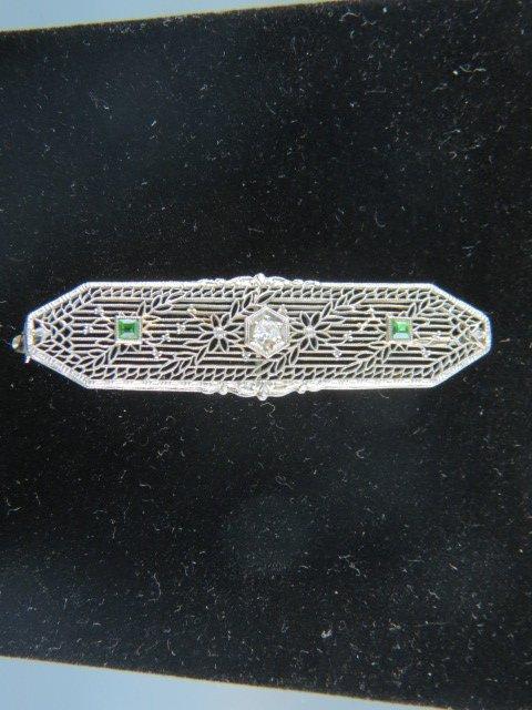 Demantoid Garnet & Diamond Bar Pin,