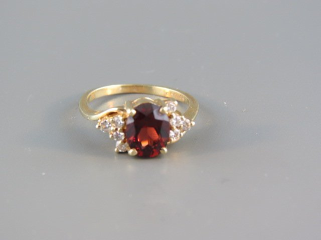 Garnet & Diamond Ring,