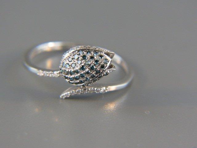 Blue & White Diamond Ring,